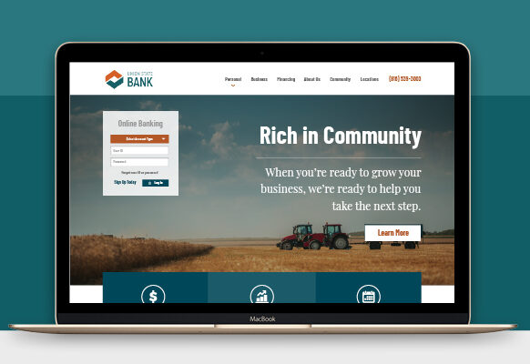 SJC Marketing gave Union State Bank a new website design that incorporates the bank's seven branches.