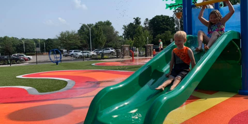 Kids will love staying cool this summer at the new Liberty Oak Splash Pad.